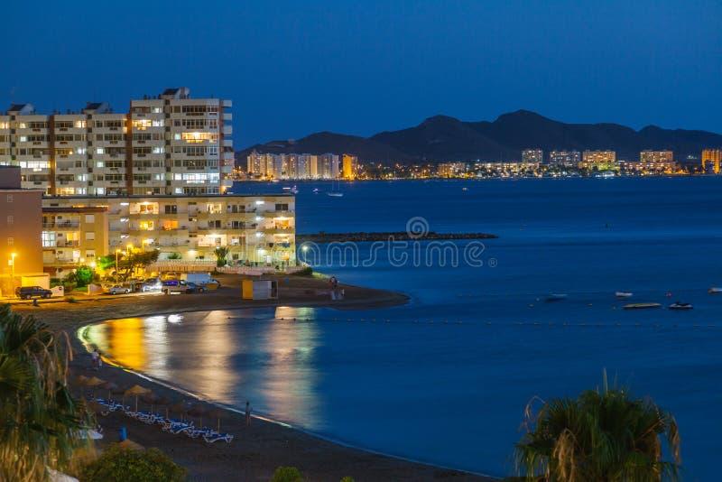 La Manga bij Nacht, Murcia stock foto's