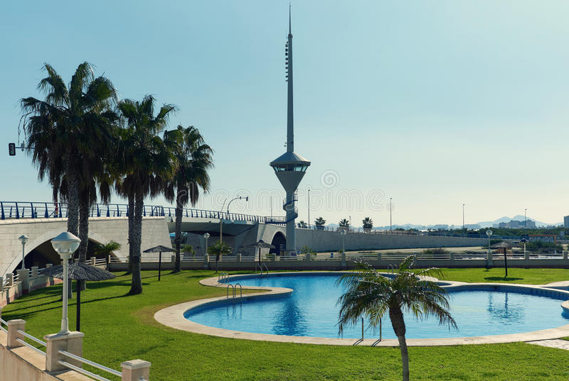 La Manga resort city. Spain. La Manga resort city. View to the The 53 m long Bascule bridge of La Manga La Manga del Mar Menor, in summer timetable it raises stock photos