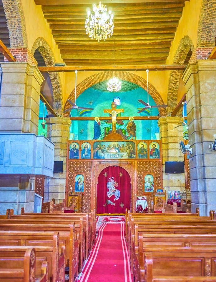 La manière au sanctuaire de St copte George Church, le Caire, Egyp photographie stock libre de droits