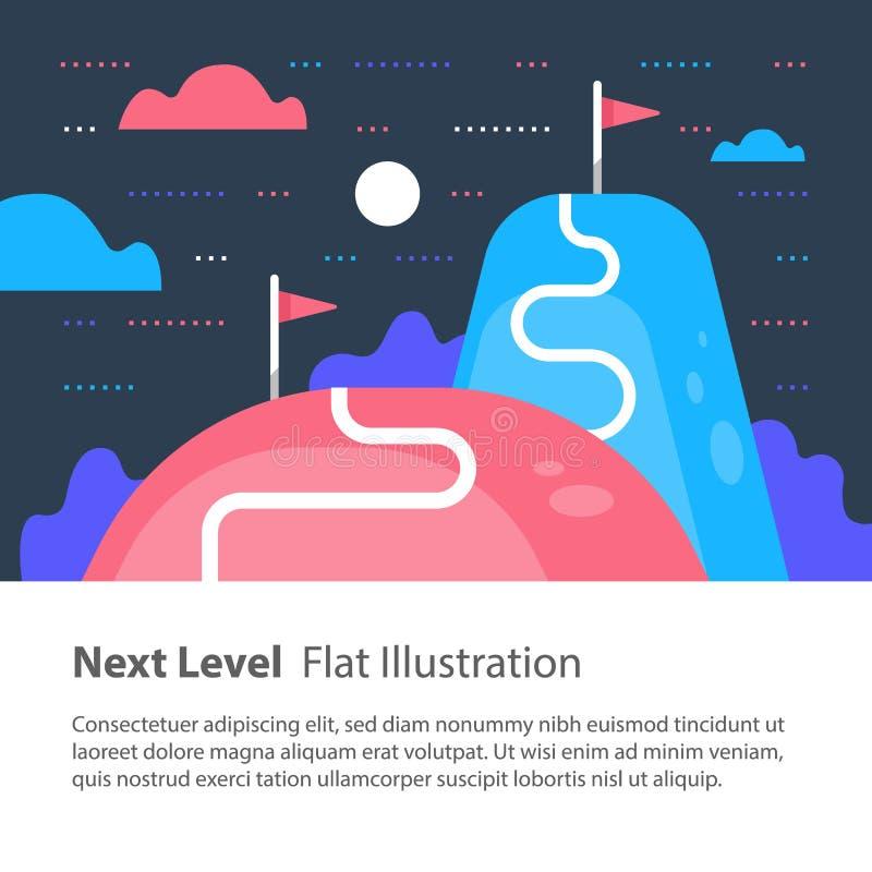La manière au succès, prochain concept de niveau, but de portée, plus haut et améliorent, motivation et amélioration, ambition à  illustration de vecteur