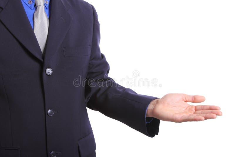 La manifestazione di affari qualcosa con la mano emtry per voi usa fotografia stock libera da diritti