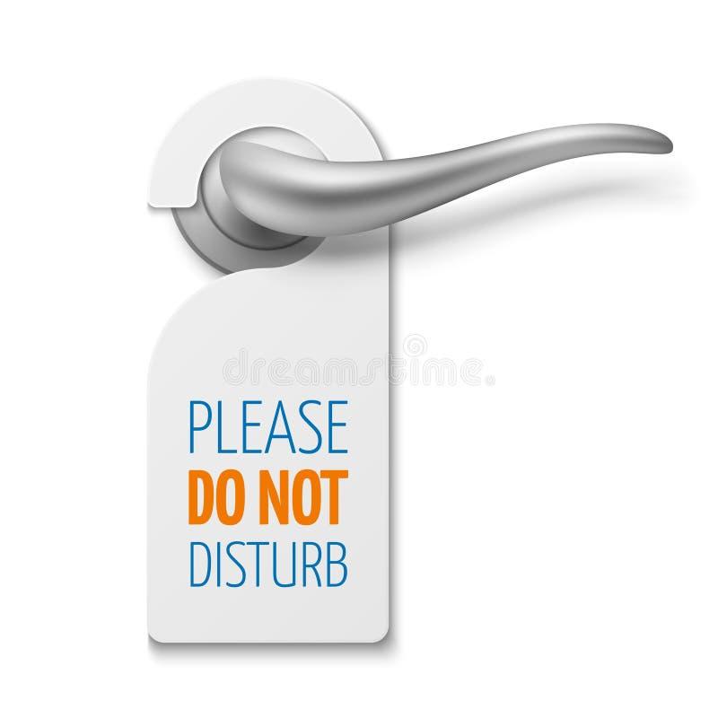 La maniglia di porta realistica d'argento con non disturba il segno in bianco bianco di vettore illustrazione di stock