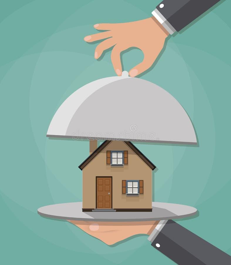 La mano abre la campana de cristal del servicio con la casa dentro Actual concepto vector el ejemplo en diseño plano en fondo ver ilustración del vector
