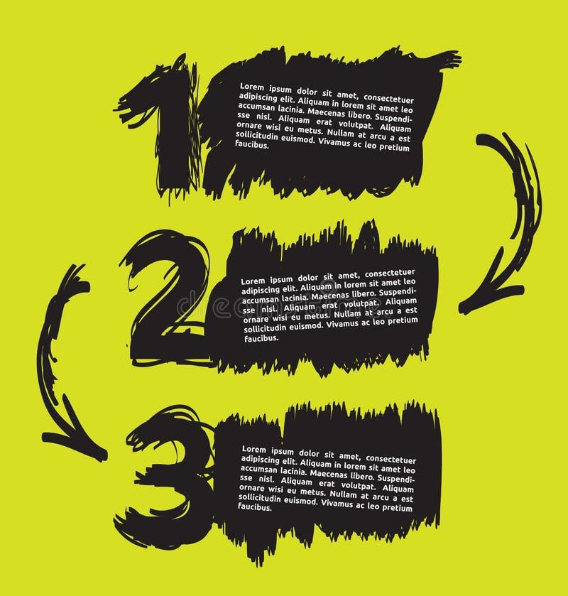 La mano abstracta dibujada numera con un espacio para el texto stock de ilustración