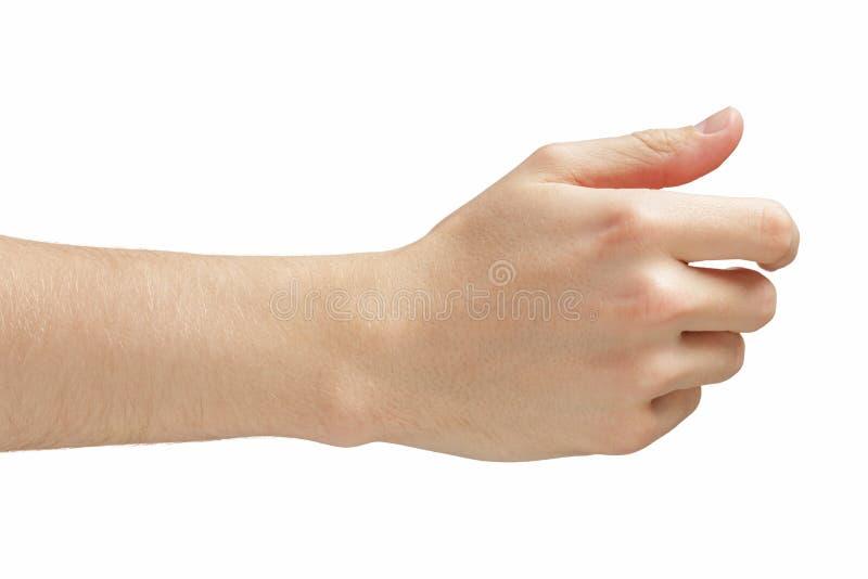 La mano adulta dell'uomo che dà o che tiene qualcosa gradisce il biglietto da visita immagini stock