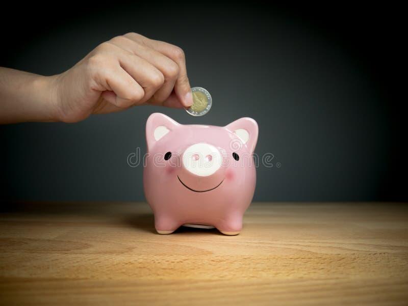 La mano aggiunge la moneta al porcellino salvadanaio per conservare la moneta, il tempo ed il concetto dei soldi immagini stock