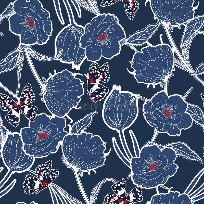 La mano azul monótona del esquema dibujada graden en la rociada oscura botánica ilustración del vector