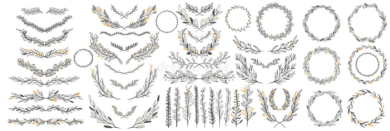 La mano bosquejó elementos del vintage del vector: guirnalda, hojas, marco Perfeccione para las invitaciones, tarjetas de felicit ilustración del vector