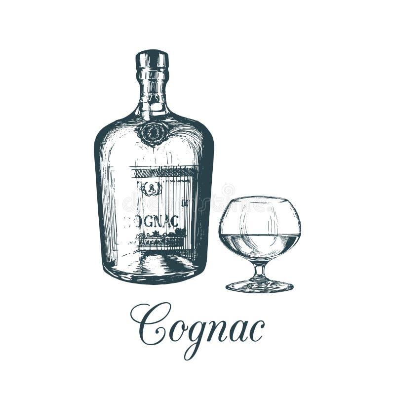 La mano bosquejó la botella y el vidrio del coñac Ejemplo del vector del sistema del brandy Concepto de diseño del menú de la beb libre illustration