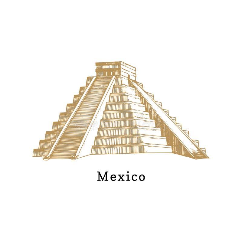 La mano bosquejó la pirámide azteca Ejemplo del vector de la atracción turística mexicana Símbolo latinoamericano del viaje stock de ilustración