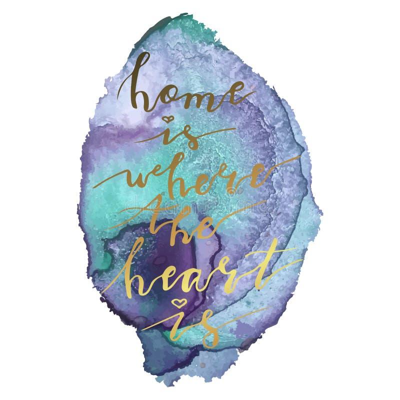 La mano che segna la casa con lettere di frase è dove il cuore è su fondo variopinto fotografia stock