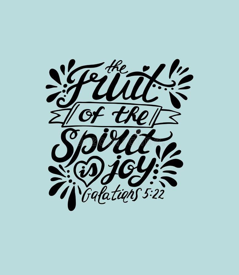 La mano che segna la frutta con lettere dello spirito è la gioia royalty illustrazione gratis