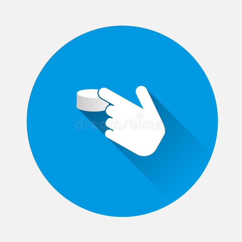 La mano clicca sopra il bottone Icona di vettore del cursore su backg blu royalty illustrazione gratis