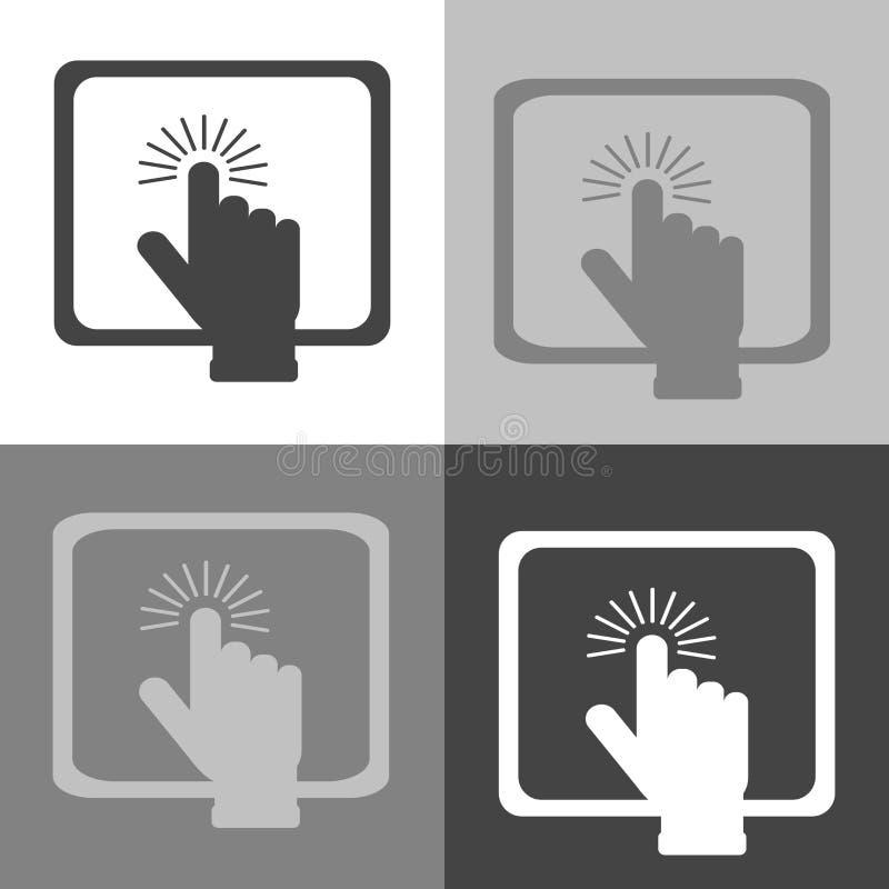 La mano clicca sopra il bottone sul PC della compressa Computer portatile o dell'icona di vettore illustrazione di stock