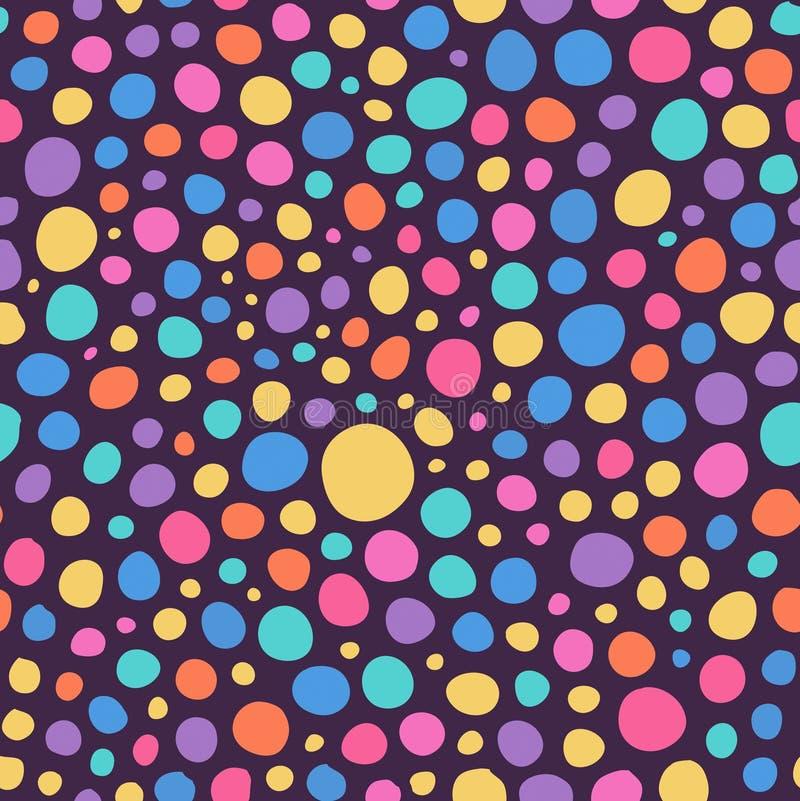 La mano colorida abstracta bosquejó el modelo inconsútil del fondo de los círculos stock de ilustración