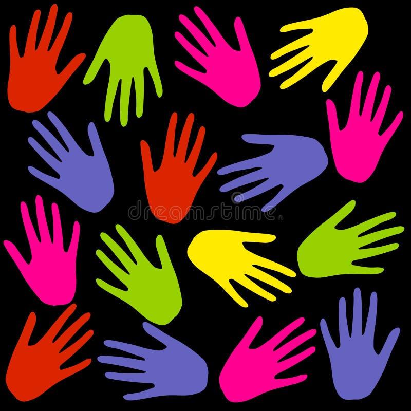 La mano colorida imprime el fondo en negro stock de ilustración