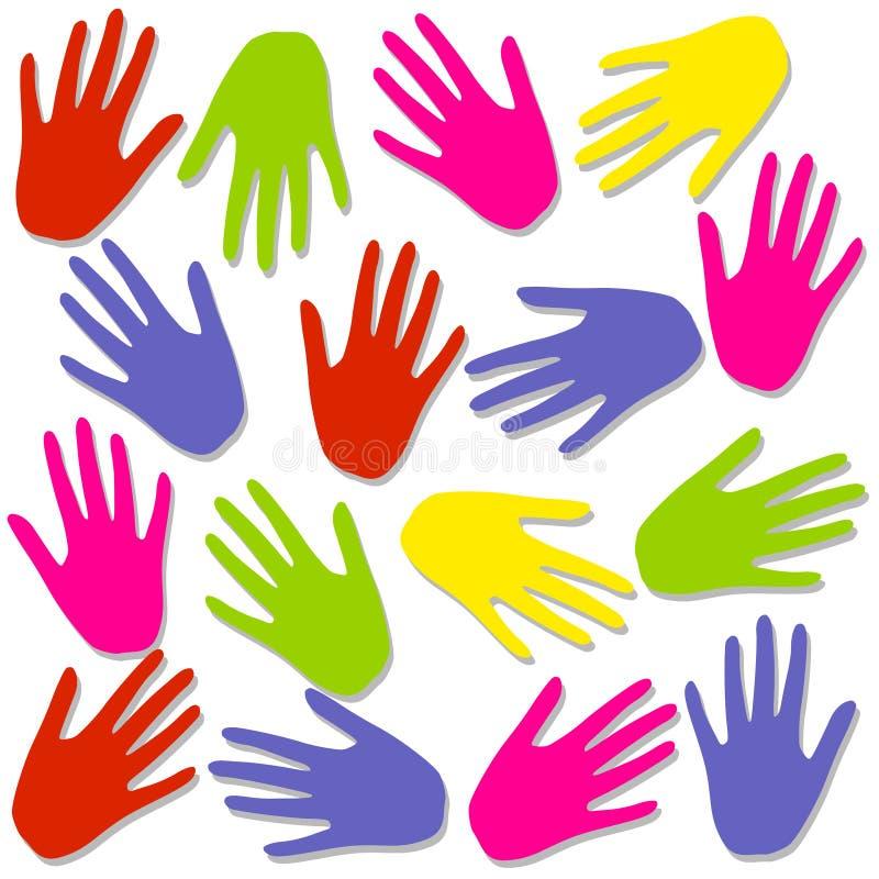 La mano colorida imprime el modelo del fondo ilustración del vector