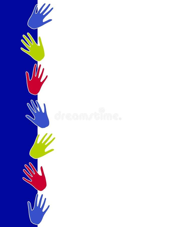 La mano colorida imprime la frontera stock de ilustración