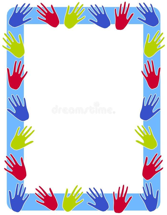 La mano colorida imprime la frontera del marco ilustración del vector