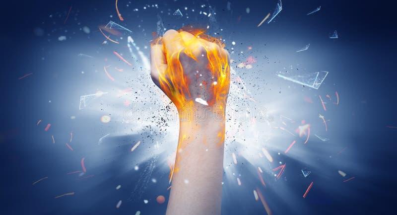 La mano colpisce intenso e lo spazio esplode fotografia stock libera da diritti