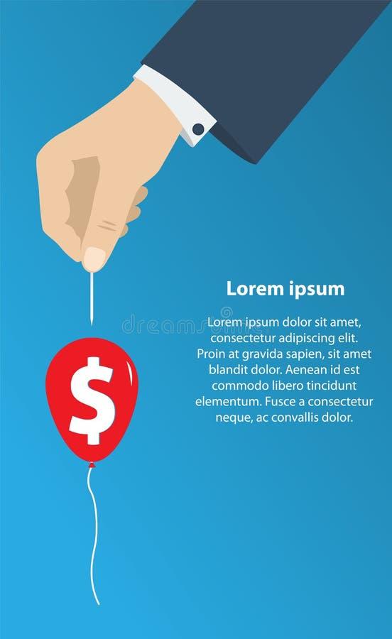 La mano con la aguja perfora el globo con el dinero Concepto de crisis de la economía, stock de ilustración