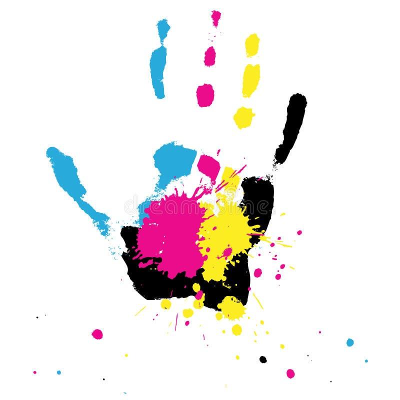 La mano con CMYK salpica stock de ilustración