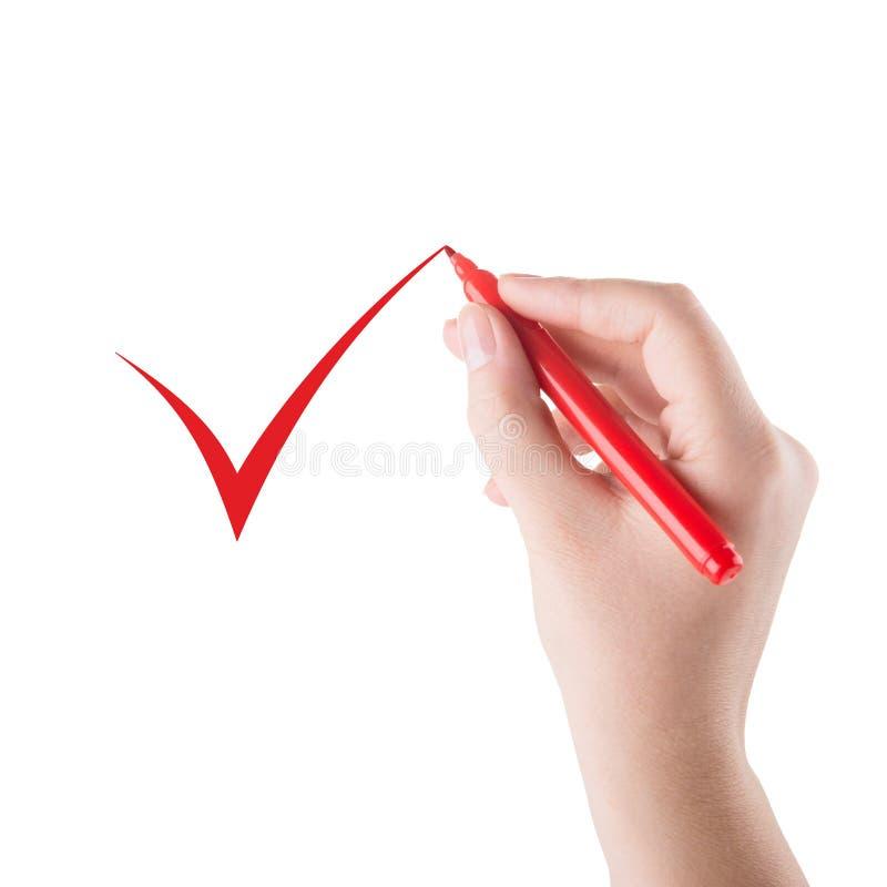 La mano con l'indicatore rosso dissipa un segno fotografia stock libera da diritti
