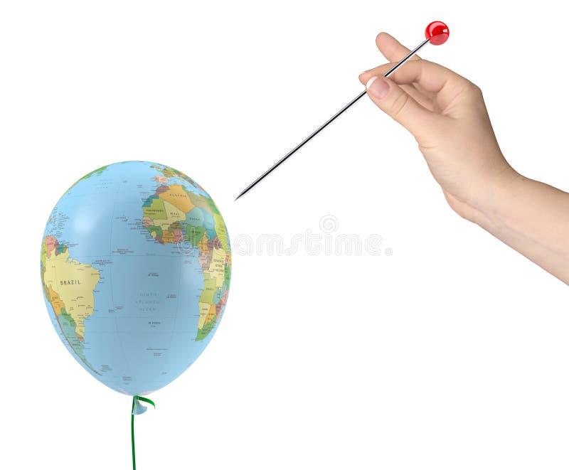 La mano con la aguja tuvo como objetivo el globo ilustración del vector