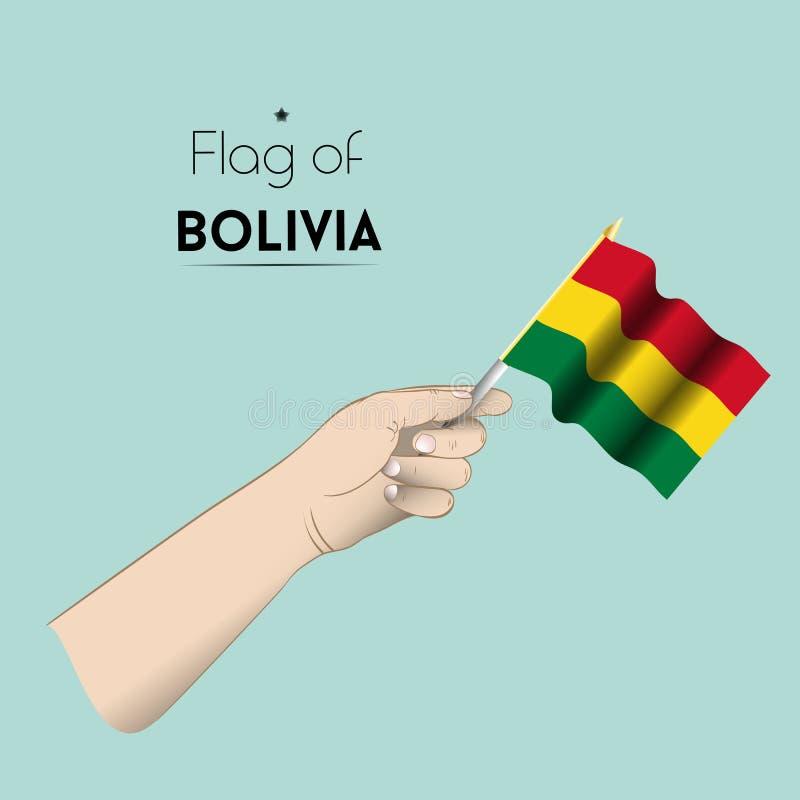La mano con la bandiera della Bolivia immagine stock libera da diritti