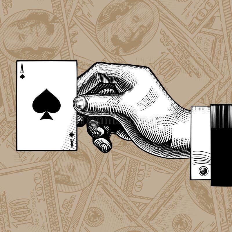 La mano con la carta da gioco dell'asso di picche sui dollari conta non illustrazione vettoriale
