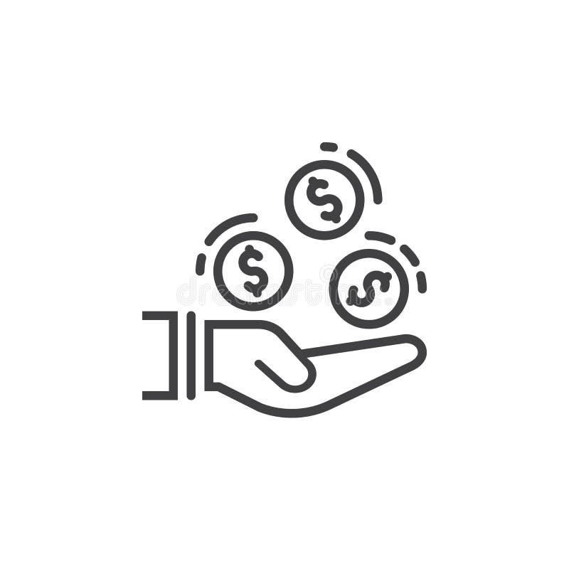 La mano con las monedas alinea el icono, muestra del vector del esquema, pictograma linear aislado en blanco ilustración del vector