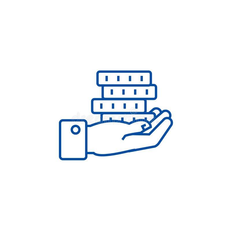 La mano con le monete allinea il concetto dell'icona Mano con il simbolo piano di vettore delle monete, segno, illustrazione del  royalty illustrazione gratis
