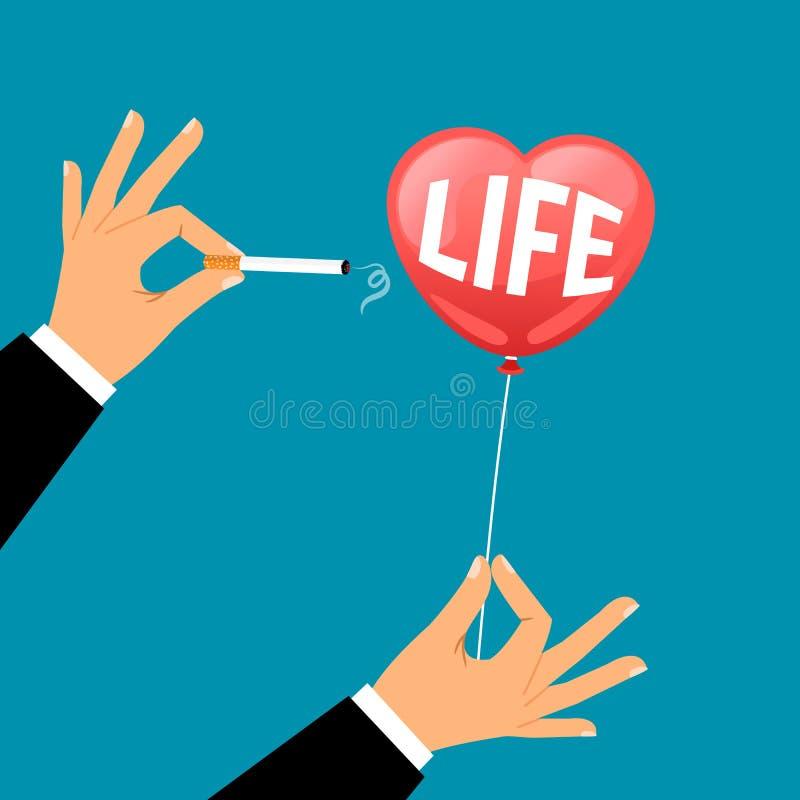 La mano con la sigaretta rompe il pallone di vita royalty illustrazione gratis