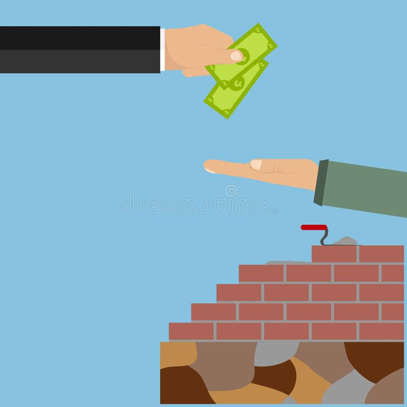 La mano dà i soldi per il lavoro fatti Stipendio al lavoratore royalty illustrazione gratis