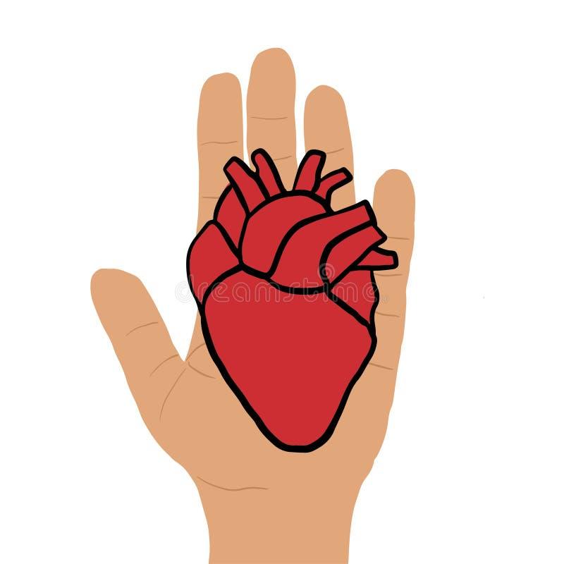La mano da el ejemplo del vector de la donaci?n del coraz?n ilustración del vector