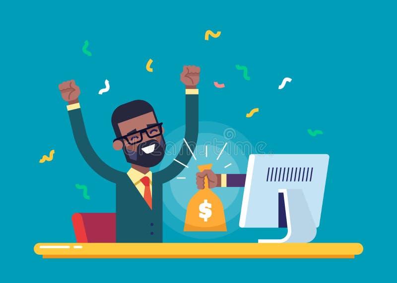 La mano dal monitor allunga una borsa di soldi ad un uomo di colore felice Illustrazione moderna illustrazione vettoriale