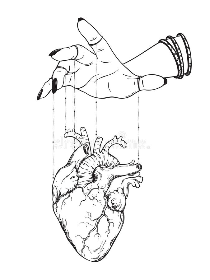 La mano de amos de la marioneta controla el coraz?n humano aislado Ejemplo dibujado mano del vector del tatuaje de la etiqueta en stock de ilustración