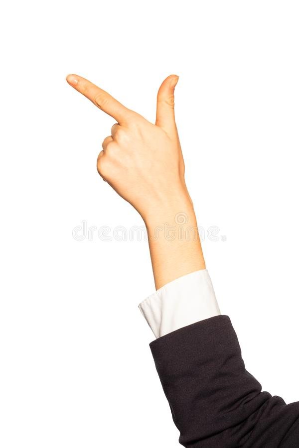 La mano de cuenta de la mujer con dos fingeres gesticula foto de archivo