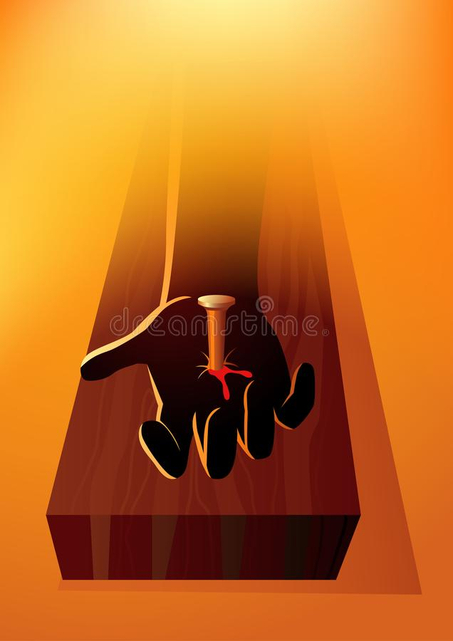 La mano de Jesus Christ clavó a la cruz libre illustration