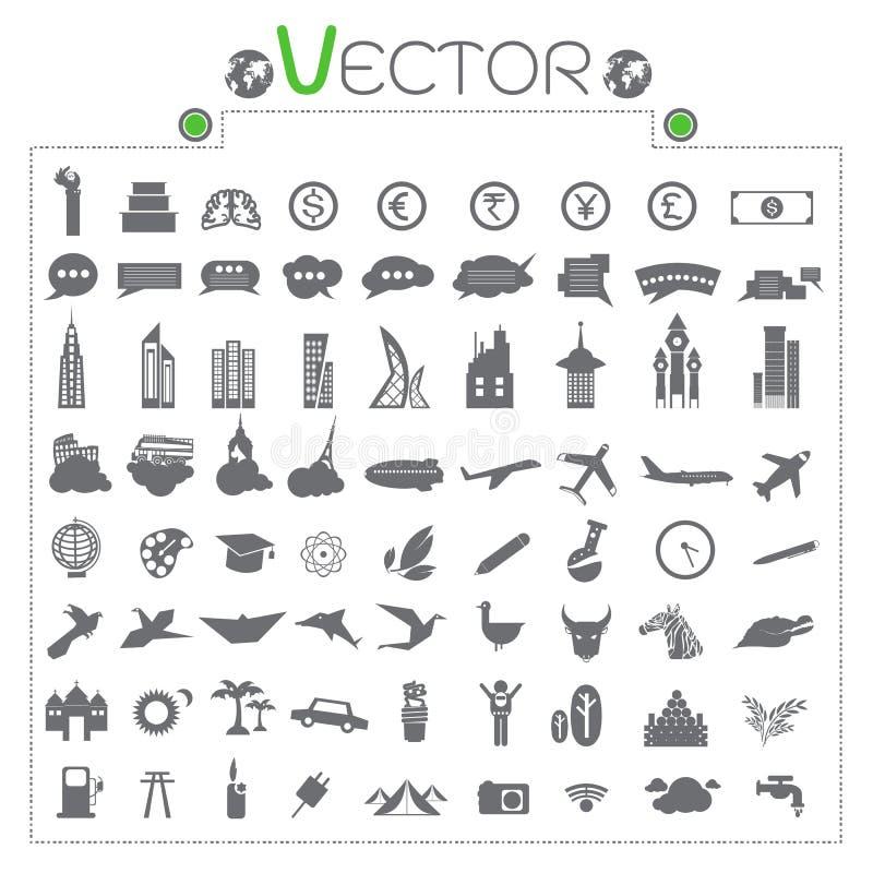 La mano de la cuenta del cerebro de la moneda de los iconos dice, construyendo vector de los árboles planos de las señales libre illustration