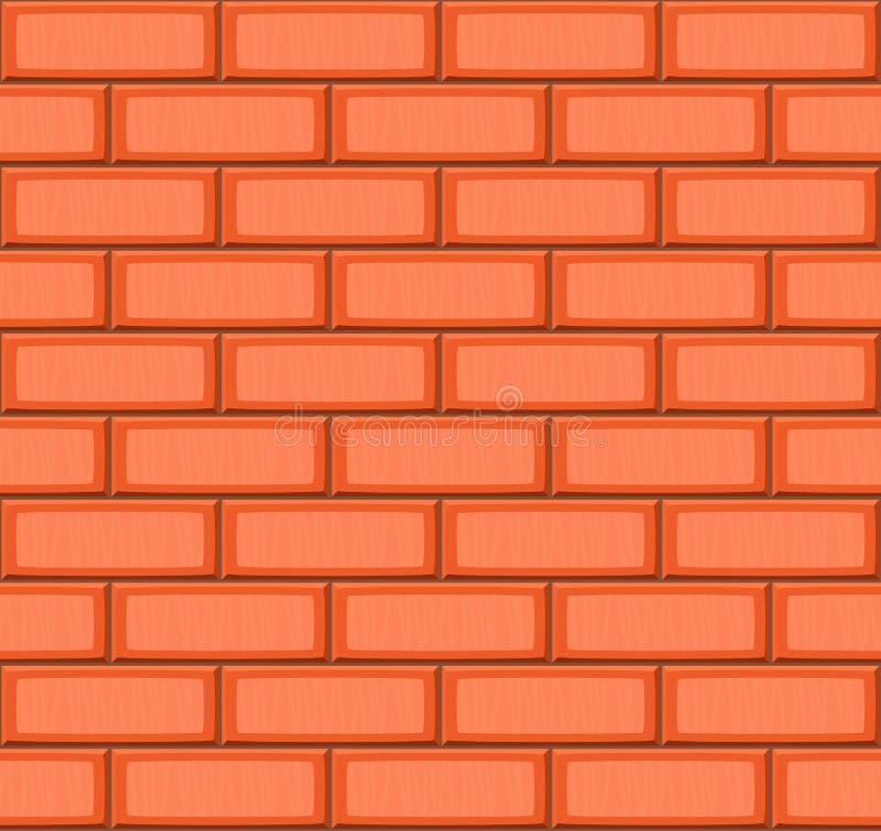 La mano de la historieta ahoga textura inconsútil realista anaranjada de la pared de ladrillo stock de ilustración