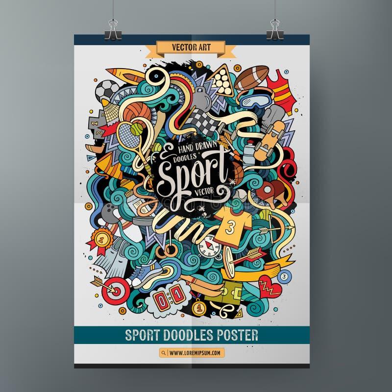 La mano de la historieta dibujada garabatea la plantilla del cartel del deporte ilustración del vector