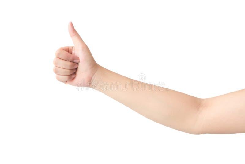 La mano de la mujer joven manosea con los dedos para arriba para la buena sensación con el backgroun blanco imagen de archivo libre de regalías