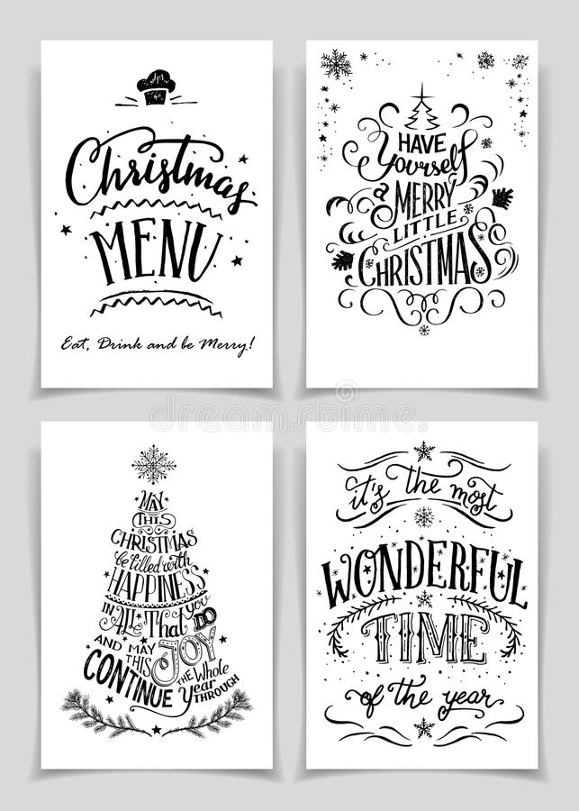 La mano de la Navidad puso letras a las tarjetas de felicitación fijadas stock de ilustración