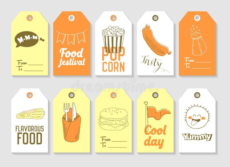 La mano de los alimentos de preparación rápida dibujada marca la colección con etiqueta Elementos a pulso del estilo del vintage  ilustración del vector