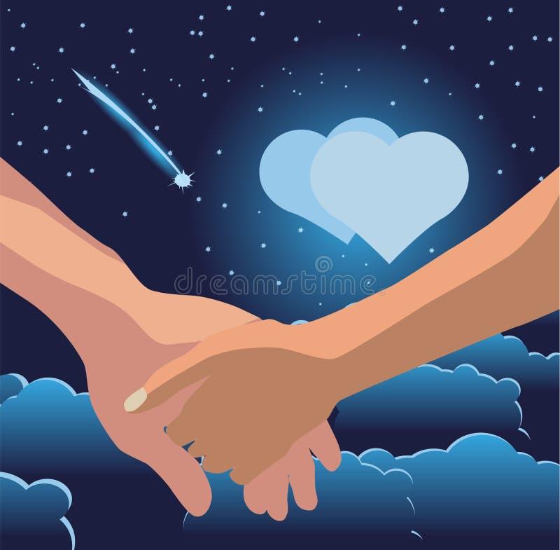 La mano de los hombres lleva a cabo la mano de la mujer contra la perspectiva de la luna bajo la forma de corazón, nubes, estrell fotos de archivo libres de regalías