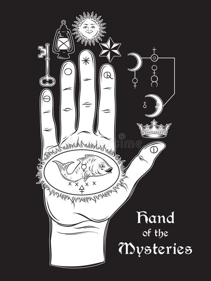 La mano de los misterios El símbolo alquímico de la apoteosis, la transformación stock de ilustración