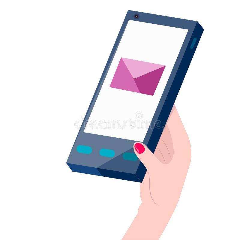 La mano de la mujer que sostiene un teléfono con SMS o el correo electrónico stock de ilustración