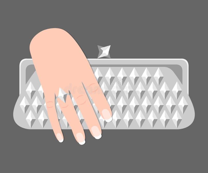 La mano de la mujer sostiene el bolso de embrague Estilo plano Aislado en gris libre illustration