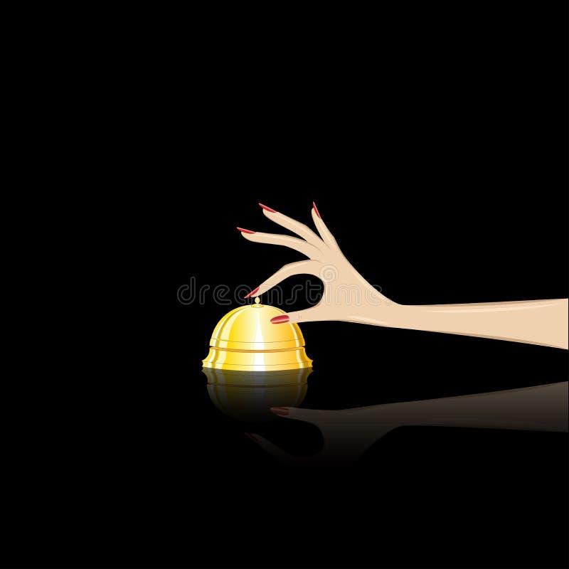 La mano de la mujer suena la campana de la tabla en la recepción del th, aislada en un fondo negro, ejemplo cuadrado del vector stock de ilustración